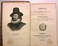 1822 FRANCIS BACON ESSAYS GRAVURE LIVRE BOOK LITTERATURE ENGLAND PHILOSOPHIE