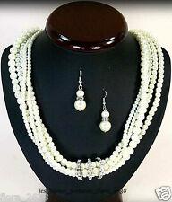 PARURE collier boucles d'oreille perle de culture crème bijoux fantaisie neuf