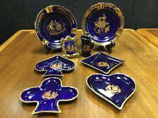 8pc Cobalt blue porcelain Limoges set Castel and La Seynie Trinkets and Ashtrays
