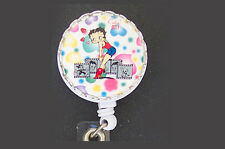 Dots BETTY BOOP Retractable ID Badge Reel Keychain Key Ring Card Holder Hearts