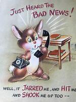 Vintage Greeting Card Get well Bunny Black phone 3D Plastic