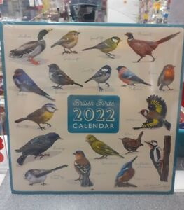 BRITISH BIRDS  2022 Wall Calendar - Large Squares to write in.
