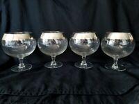 Dorothy Thorpe Silver Band Balloon Wine Glasses Short Stem Polished Rare