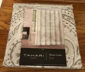 """Tahari Home """"Eve"""" Grey & White Fabric Shower Curtain 72"""" x 72"""" NEW"""