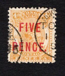 "Tonga 1893 used #19 carmine overprint ""FIVE PENCE."" on 4p orange-yellow cv"