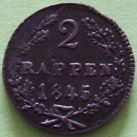 SUISSE 2 RAPPEN 1845 CANT. DE SCHWYZ