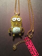 Betsey Johnson Yellow people golden Minions Necklace W-MOVABLE PARTS-BJ6287