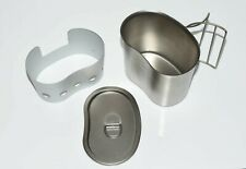 US army Style canteen Water Cup Mug Cooker Lid Steel 500ml
