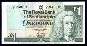"Scotland: Royal Bank 27-6-2000 £1 SCARCE 1ST PREFIX ""C/83"". P351e UNC Cat $7++"