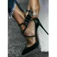 Sexy Black Pointy Toe Strap Cross High Heels Party Shoes Womens Pumps Nightclub