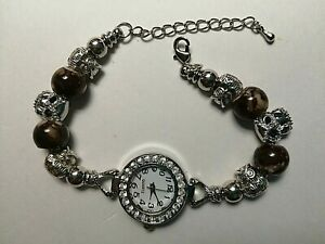 Handmade Silver OWL Watch Bracelet with 6 Silver OWL Charms and BROWN Beads.
