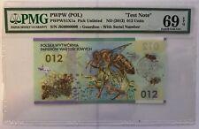 2012 Test Note PWPW Poland PMG 69 EPQ Superb Gem UNC 012 Units