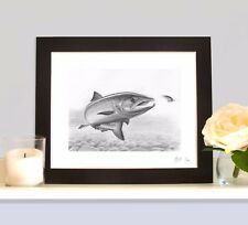 FRESH RUN SALMON ON THE FLY Fishing Fish Art Print MOUNTED Picture
