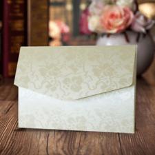 10 A6 POCKETFOLD INVITATIONS IVORY BRODERIE WEDDING - ENVELOPE & BLANK INSERT