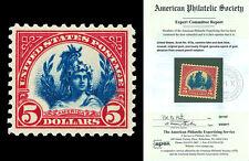 Scott 573a 1923 $5.00 Carmine Lake America Mint F-VF+ OG LH w/ APS CERTIFICATE!