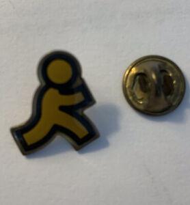 Vintage Tie Tack AOL Running Man Metal Yellow