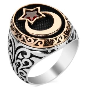 Solid 925 Sterling Silver Red Stone Crescent Moon Star Men's Ring