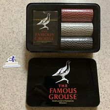 (JW) the famous grouse poker set Item New Tin Box Shows Wear From Handling