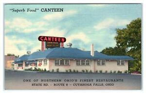 CUYAHOGA FALLS, OH Ohio ~ Roadside The CANTEEN RESTAURANT c1940s Linen  Postcard