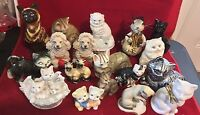 Vintage Lot of 16 Cat, Dog, Mouse Ceramic Porcelain Figurines