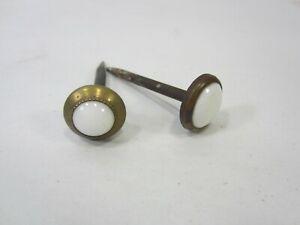 2 Antique Victorian Porcelain & Brass Picture Hanging Nails