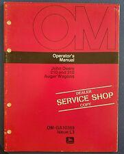 John Deere 210 & 310 Auger Wagons - Operator's Manual - Dealer Service Shop Copy