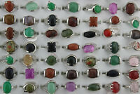 Wholesale Mixed Lots 60pcs Small Charm Natural Stone Lady's Silver P Rings