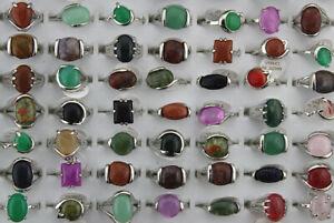 Wholesale Mixed Lots 60pcs Small Charm Natural Stone Lady's Silver P Rings