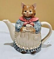 Vintage Otagiri Japan Tea Pot Hand Painted Porcelain Mother Cat Teapot 9 PCs Set
