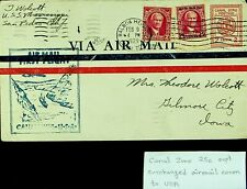 PANAMA CANAL ZONE 25c OVPTD SURCHARGED AIRMAIL COVER TO IOWA USA