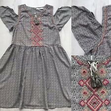 M&S Kids Bohemian Cold Shoulder Dress Ethnic Embroidery Age 11-12 E1