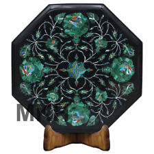 Black Marble Coffee Table Top Side Table Inlay Gem Stone Pietra Dura Vintage Art
