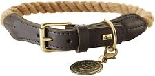 HUNTER Collar with Rope List 38-46 Beige 64715 Dog Collar Nautic Leather