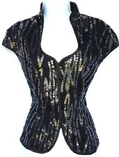 Cartise womens top black silver bling sequin sz 6 Small Medium satin sexy tuxedo