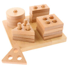 Wooden Geometric Stacker Shape Sorter Building Blocks Toy for Children Baby