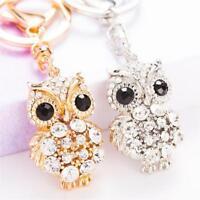 Crystal Owl Rhinestones Pendant Keychain Bag Car Key Ring Chain Jewelry Keyring