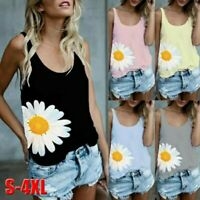Fashion Women's Casual O-Neck Daisy Print Sleeveless Vest T-Shirt Blouse Tops