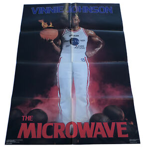 """Vinnie Johnson The Microwave 1988 Costacos 24""""X36"""" Poster Detroit Pistons Rare"""