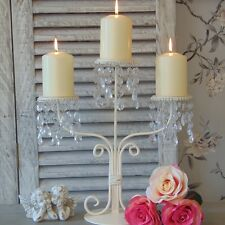 Crema PORTACANDELE CANDELABRI tavolo da pranzo matrimonio shabby chic francese Crystal