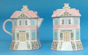 The Lenox Village Creamery & Confectionary Set Creamer Sugar Bowl Porcelain 1991
