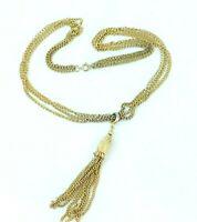 Vintage Multi Strand Gold Tone Chain Necklace Tassel Pendant