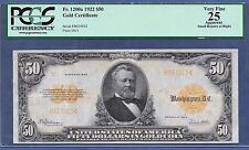 "1922 $50  FR-1200a  SMALL S/N ♚♚GOLD-CERTIFICATE♚♚ PCGS VF 25   ONLY ""22"" KNOWN"