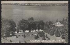RP Postcard LINDSAY CANADA Sturgeon Lake Rustic Bay Cabins Aerial view 1940's