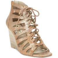 INC International Concepts Women Silviah Strappy Wedge Sandals Pearl Gold US 8M