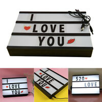 A4 LED Lightbox DIY Message Box Cinema Letter Lamp+ 96 Cards for Home Decor