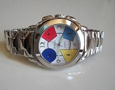 Men's silver finish dressy look fashion with colorful small dials  watch