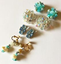 4 VTG Clip Earring Lot ALL Signed WEISS LISNER ACCESSOCRAFT GERMANY RHINESTONE
