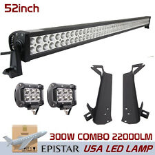 52in 300W + 2X 18W Spot LED Light Bar With Mount Bracket For Jeep Wrangler TJ CJ