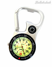 White Silver Clip-on Carabiner FOB Watch for Doctors Nurses Paramedics Chefs