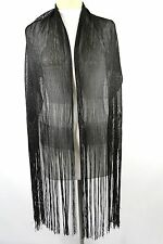 B3 Black Silver Metallic Long Fringe Formal Scarf Shawl Boutique
